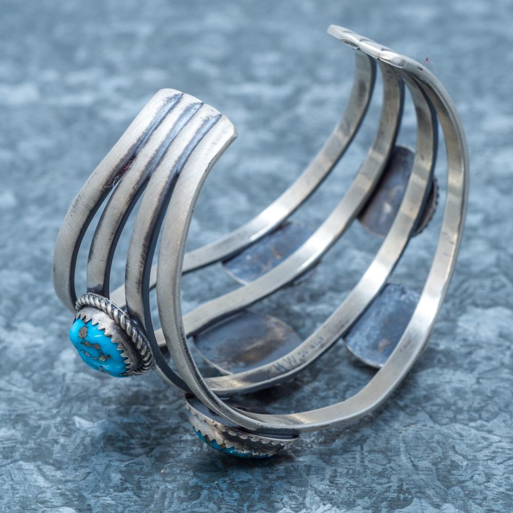 Sleeping Beauty Turquoise Cuff Bracelet by Martha Willeto - Inside Back View