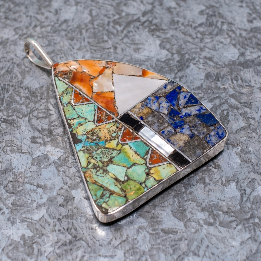 Mosaic Triangular Inlaid Pendant by Mary Coriz JE190038
