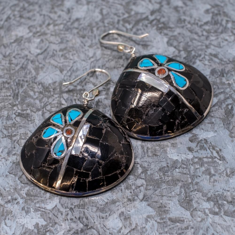 Sleeping Beauty Turquoise and Jet Earrings by Mary Coriz SB190008