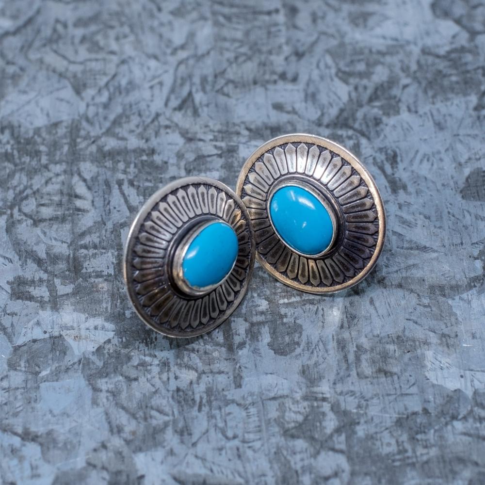 Sleeping Beauty Turquoise Oval Earrings SB190011