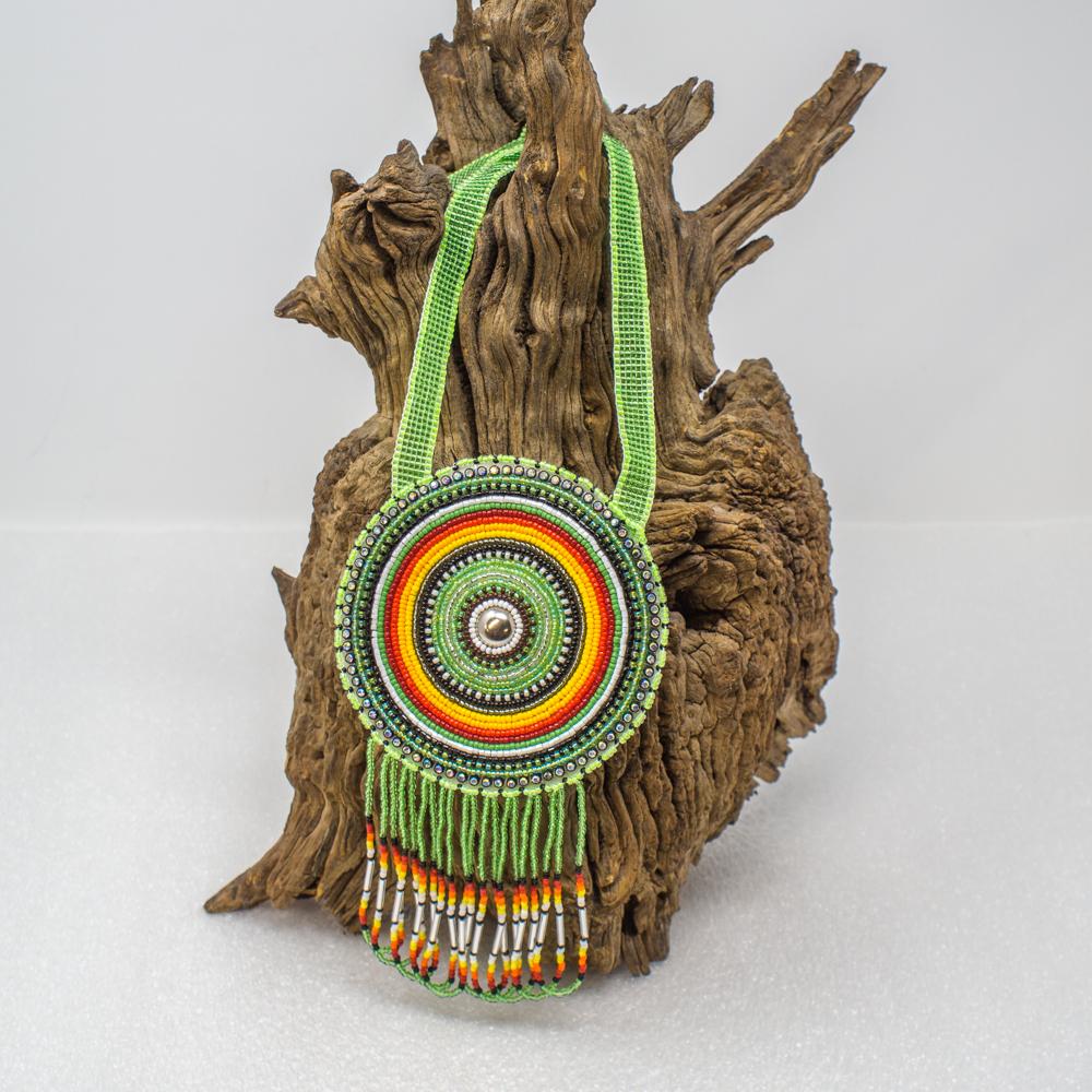 Apache Beaded Medallion Necklace - Green GA190022