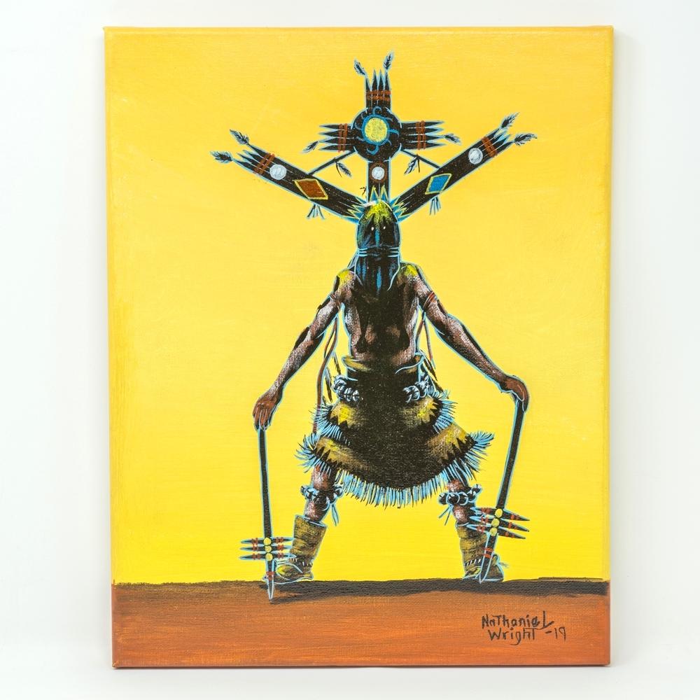 Apache Gahn Dancer Painting by Nathaniel Wright 14x11 GA190024
