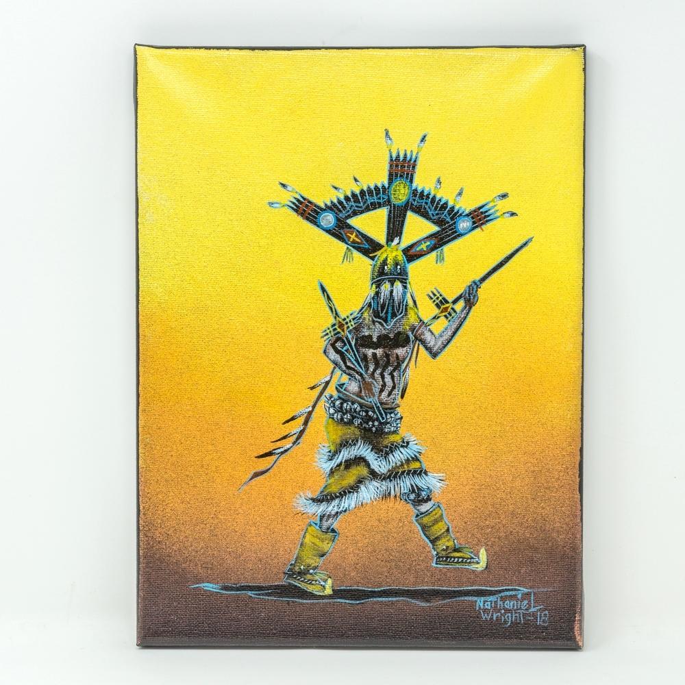 Apache Gahn Dancer Painting by Nathaniel Wright 12x9 GA190025