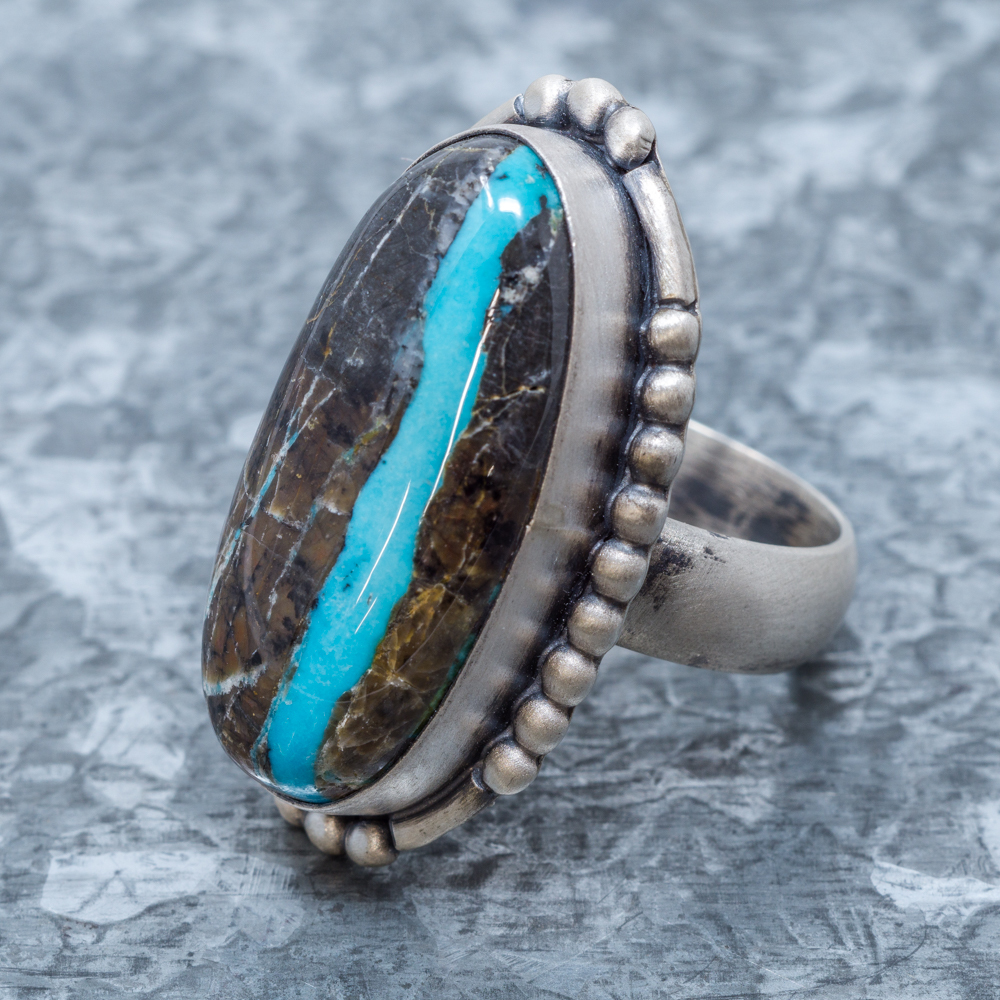 Blue Jay Turquoise Ring by Martha Willeto JE190056