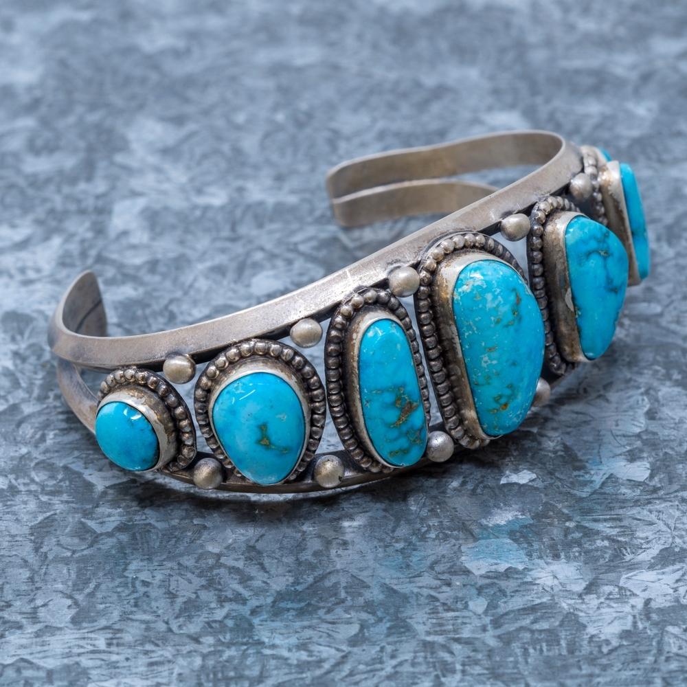 Turquoise Mountain Cuff Bracelet by Elgin Tom JE190059