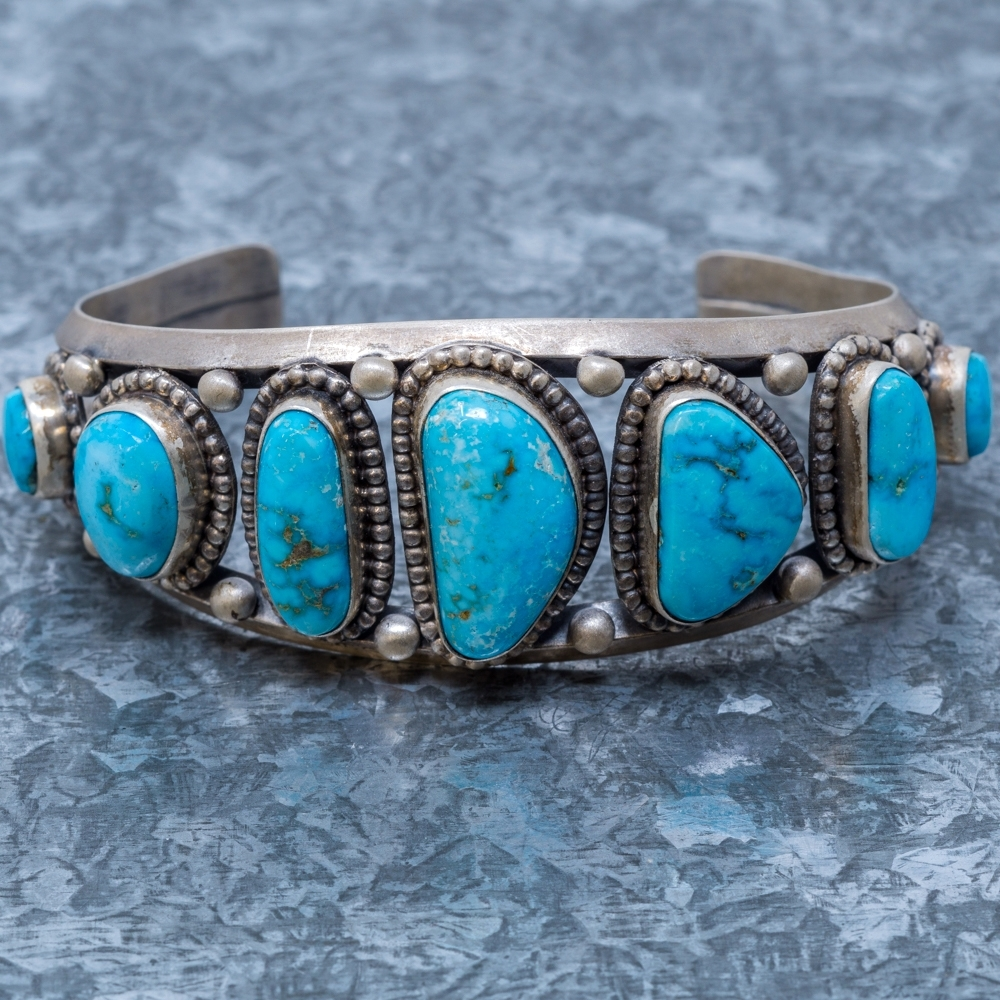 Turquoise Mountain Cuff Bracelet - Front View