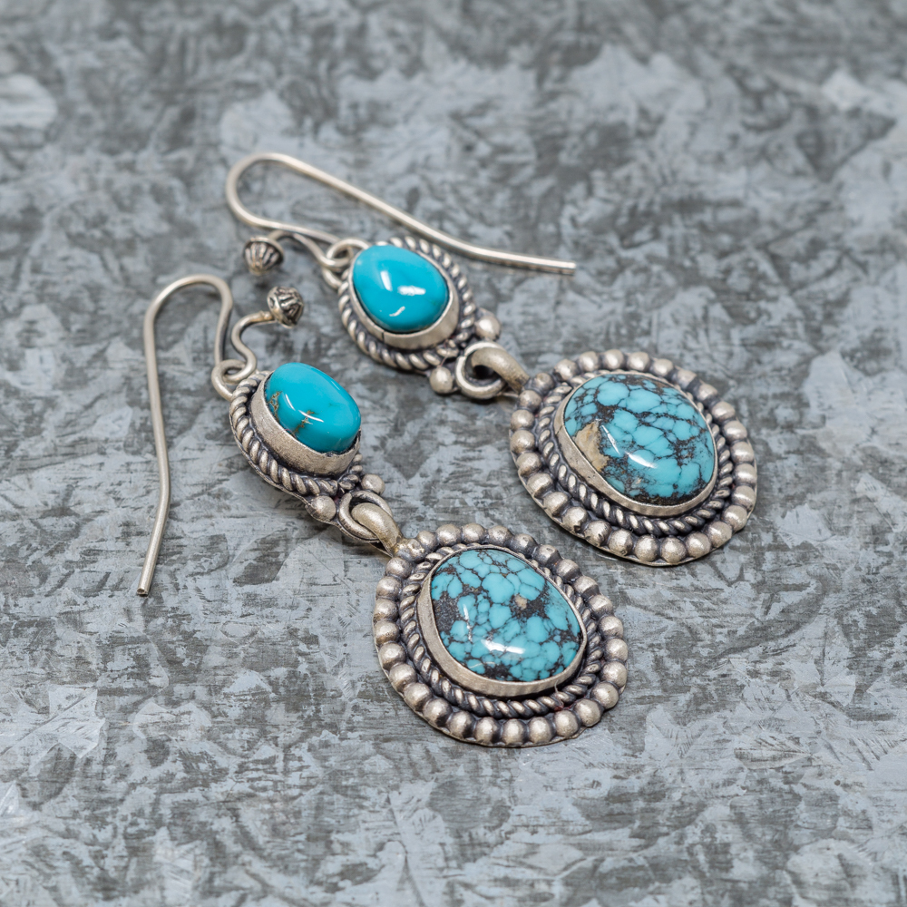 Hubei Turquoise & Dragonfly Turquoise Sterling Silver Earrings by Martha Willeto JE190070