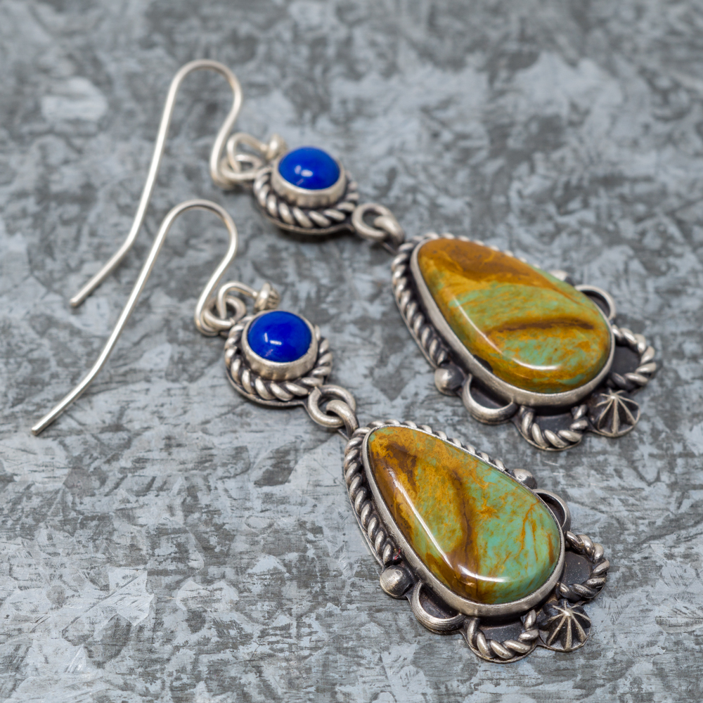 Hachita Turquoise & Lapis Lazuli Sterling Silver Earrings by Elgin Tom JE190072