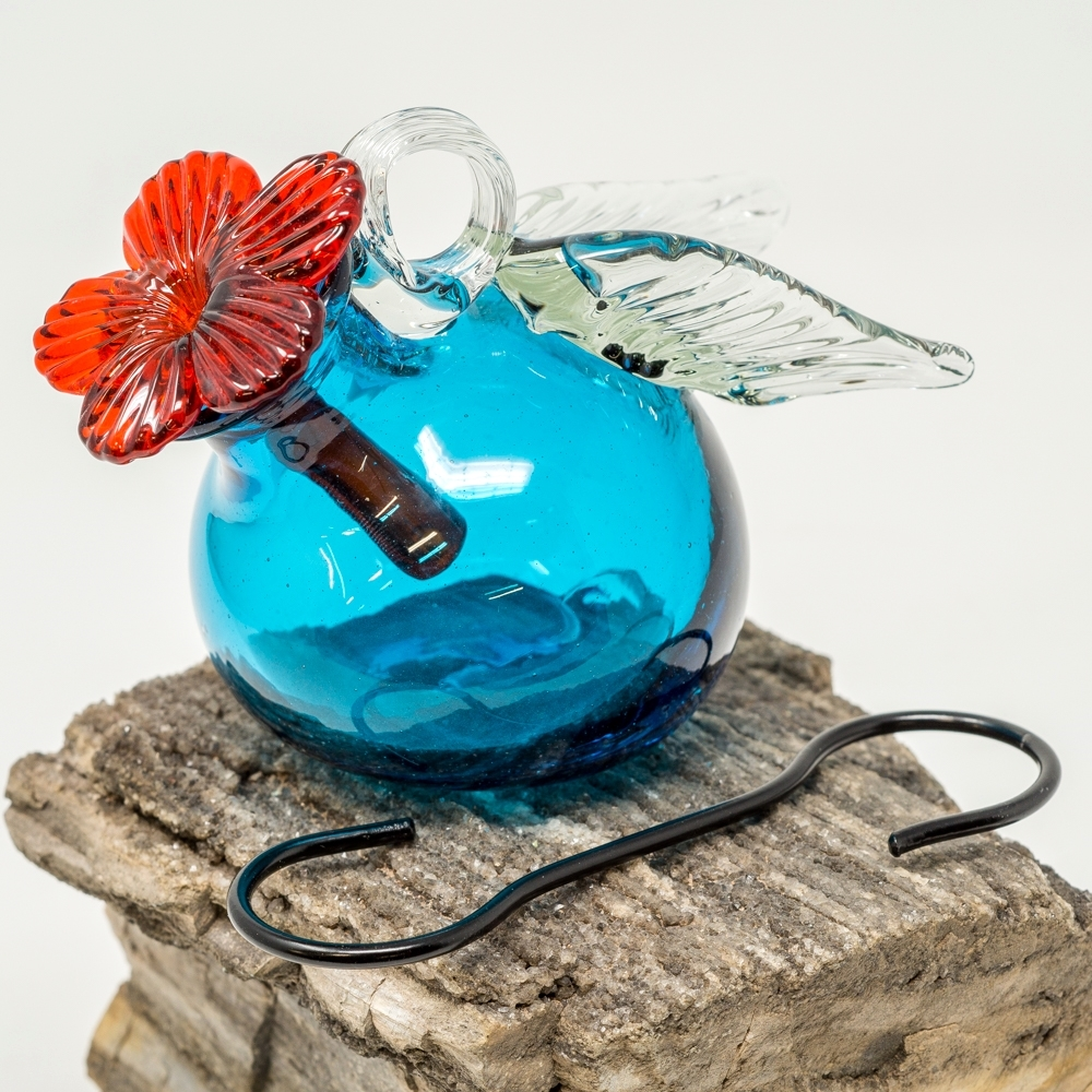Pixie Wings Glass Hummingbird Feeder - Turquoise SG190066