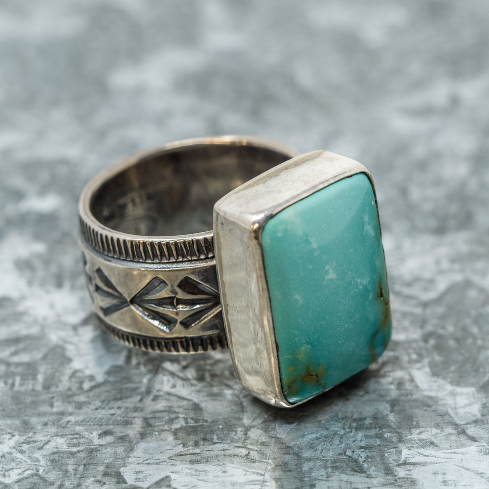 Nevada Green Turquoise Ring by E.M.Teller JE190086