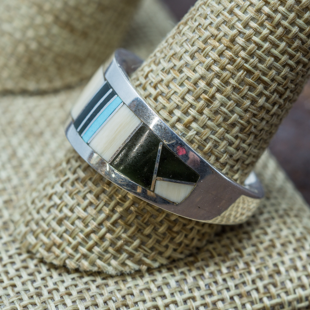 Tapered Multi-Stone Inlay Ring