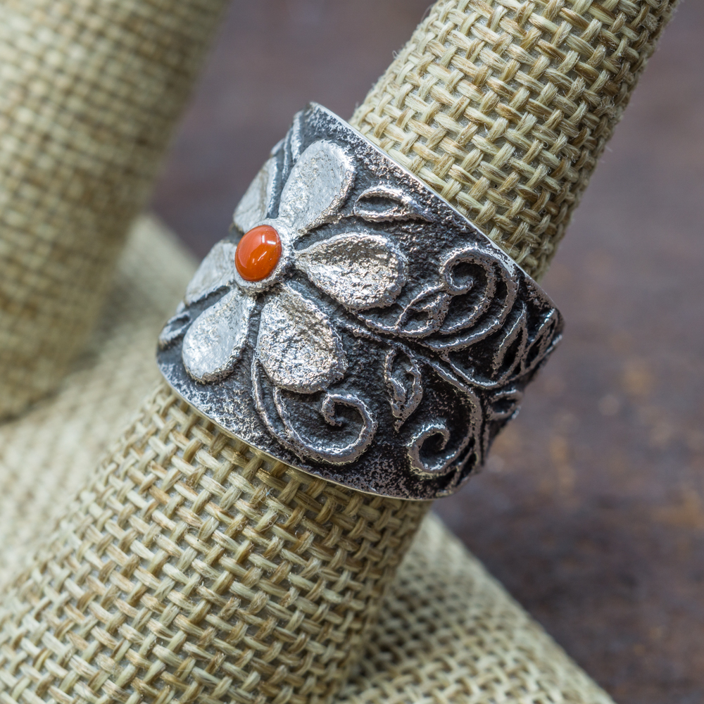 Tufa Cast Coral Ring by Rebecca Begay