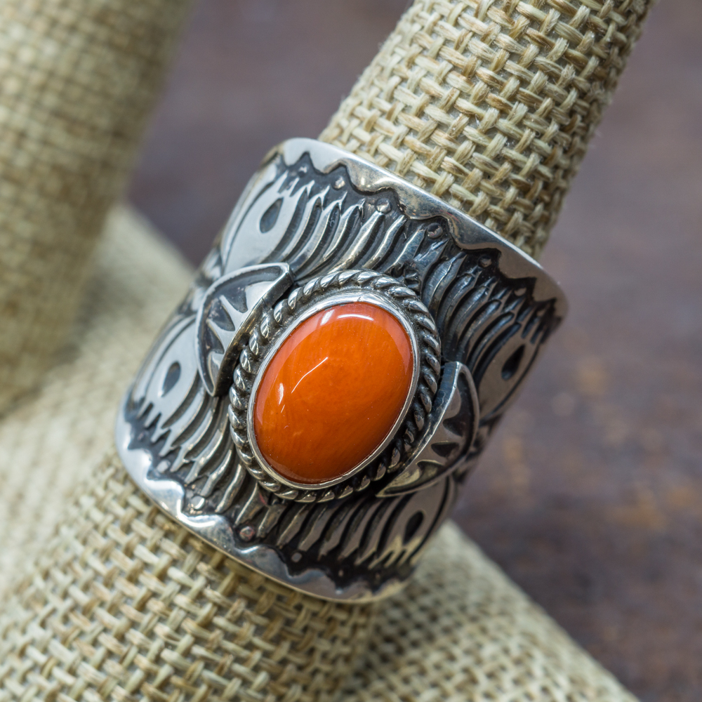 Stamped Coral Ring by Derrick Gordon JE190093