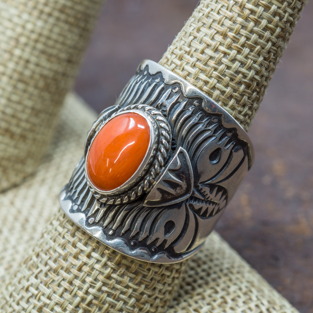 Stamped Coral Ring by Derrick Gordon
