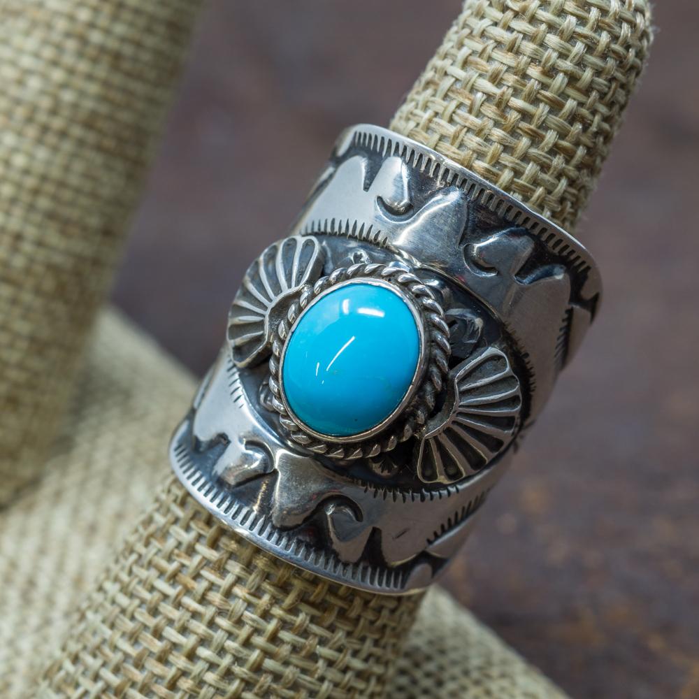Stamped Sleeping Turquoise Ring by Derrick Gordon SB190017