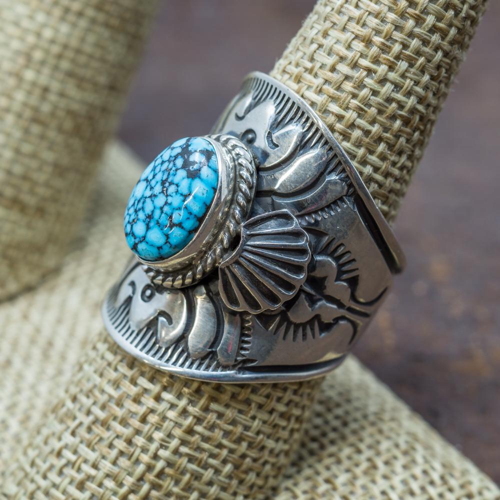 Spiderweb Kingman Turquoise Ring by Derrick Gordon