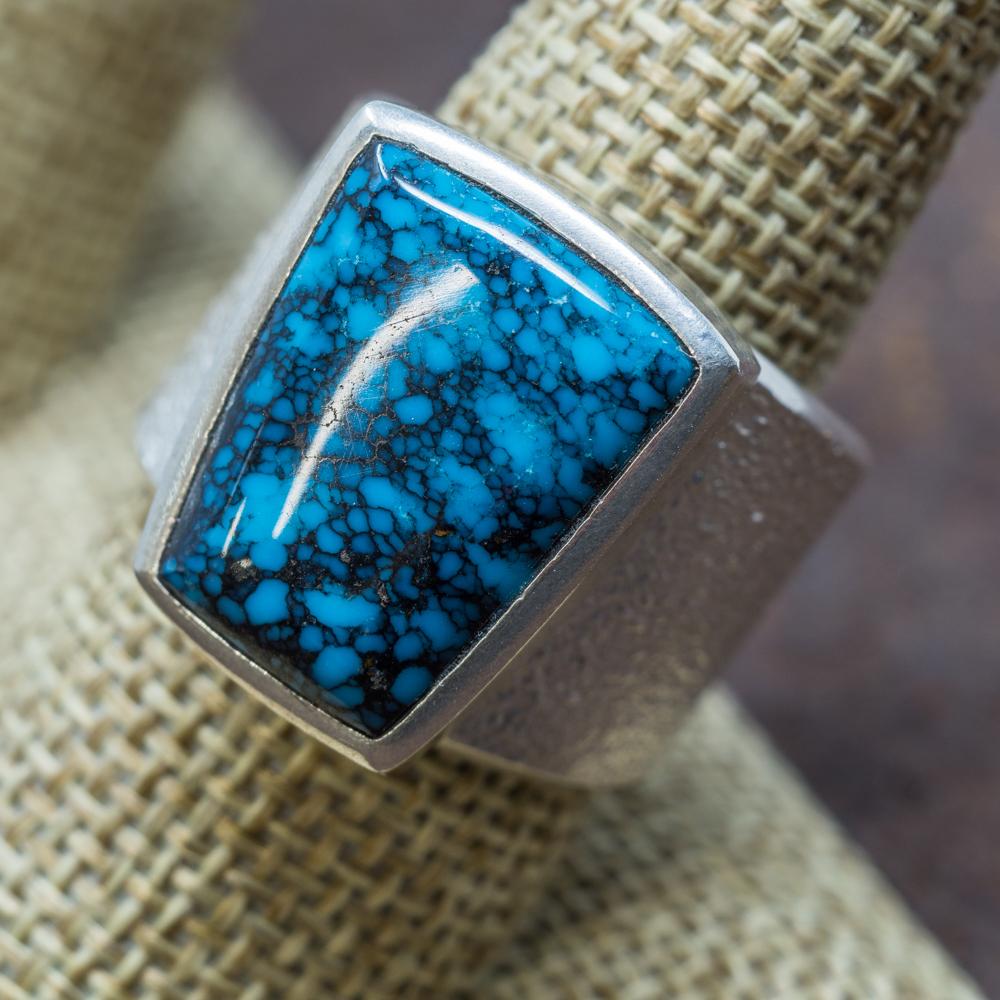 Spiderweb Kingman Turquoise Tufacast Ring by Darryl Dean Begay