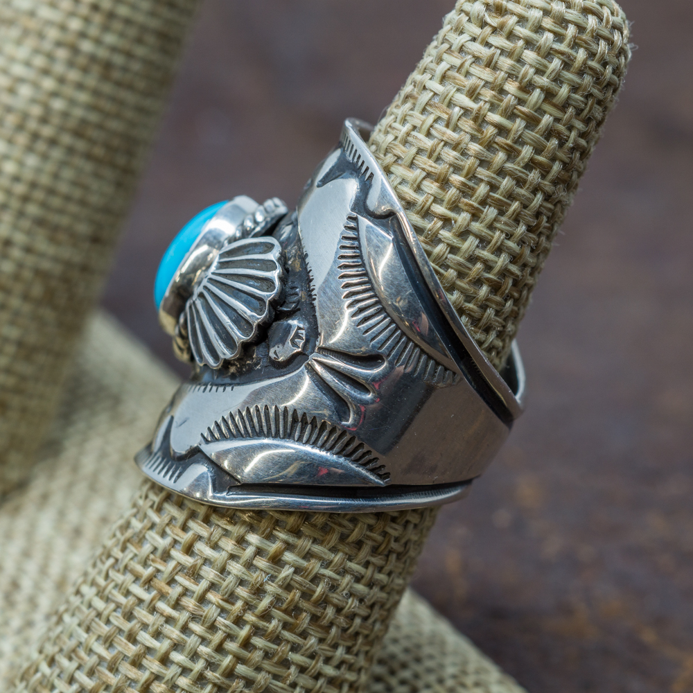 Stamped Sleeping Turquoise Ring by Derrick Gordon