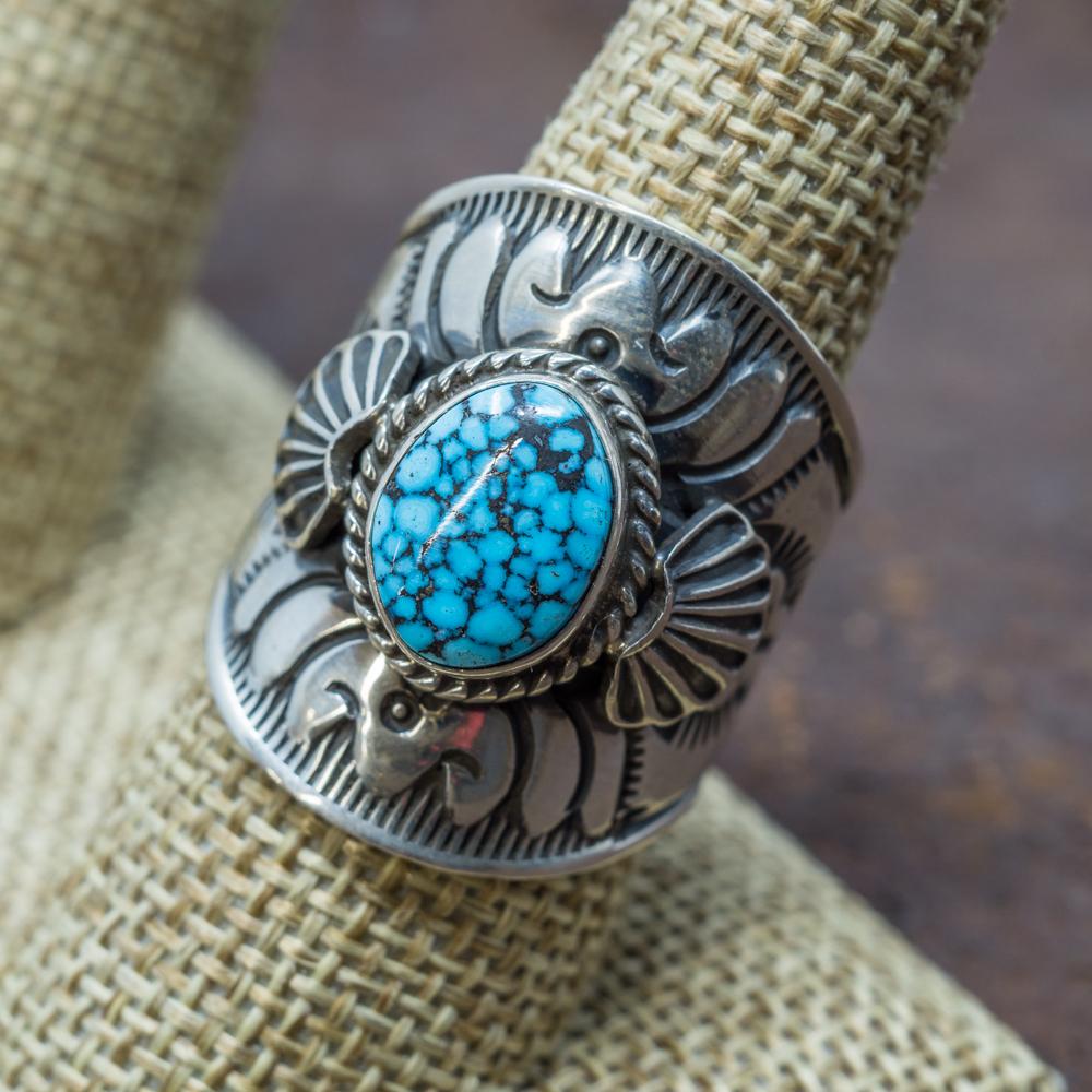 Spiderweb Kingman Turquoise Ring by Derrick Gordon JE190094