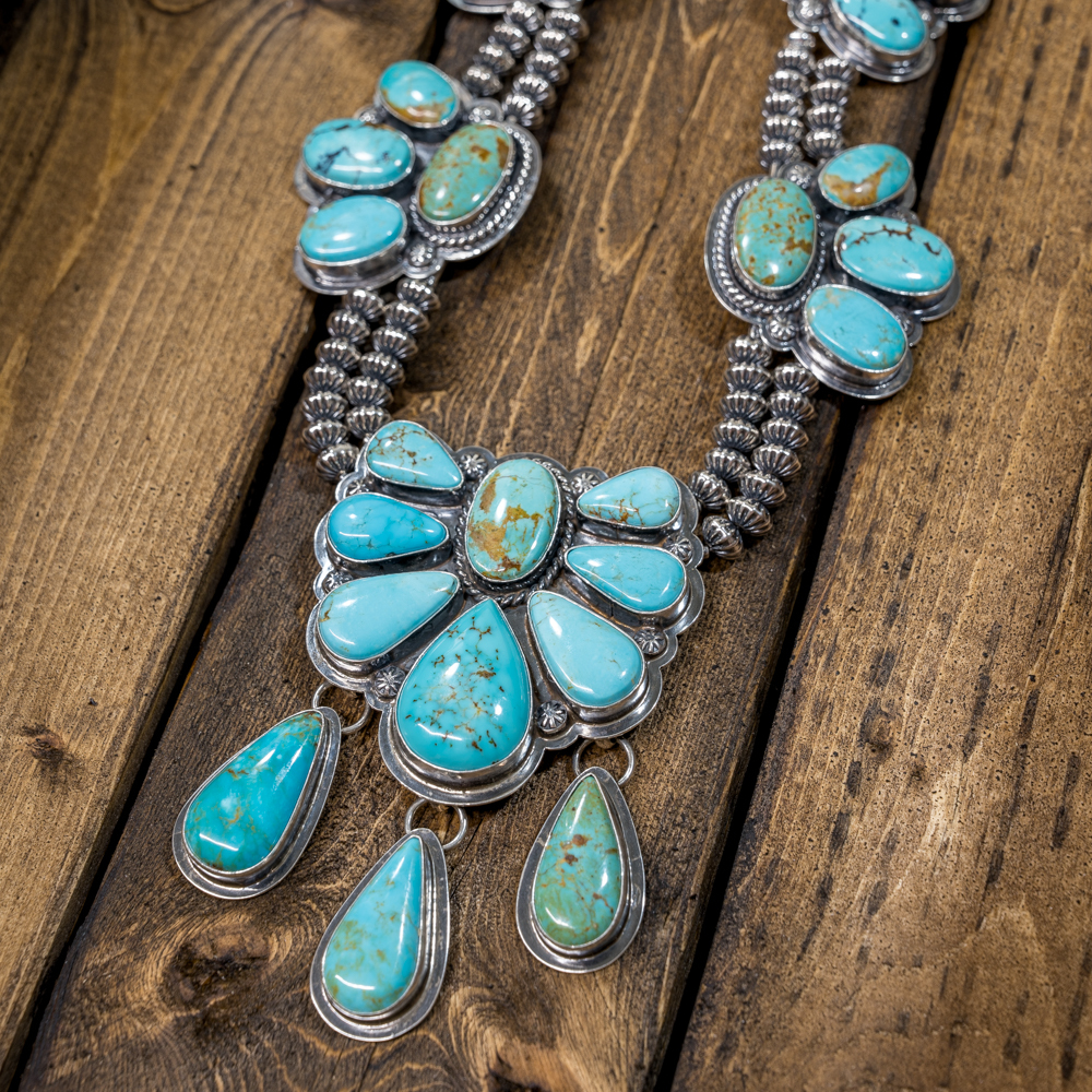 Kingman Turquoise Squash Blossom Necklace by EM Teller