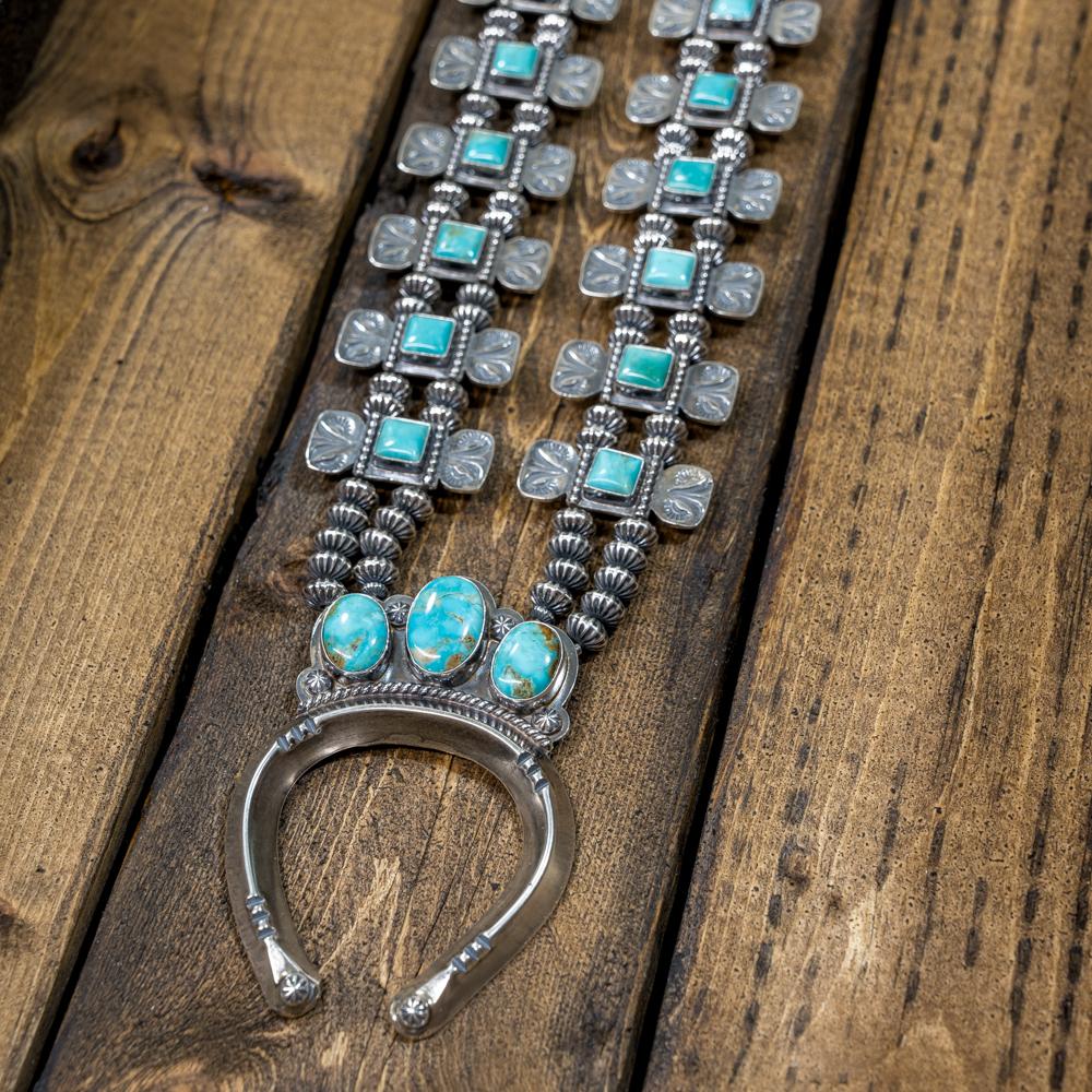 Sterling Silver Kingman Turquoise Squash Blossom by EM Teller