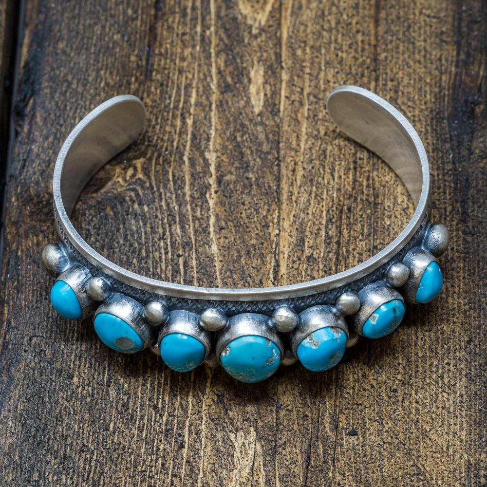 Sleeping Beauty Turquoise Bracelet by Jimmy Secatero