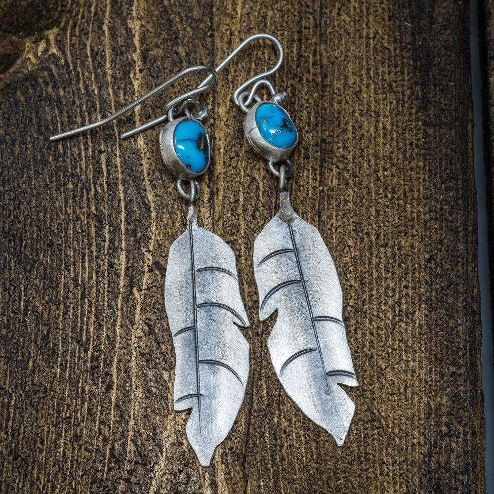 Sleeping Beauty Turquoise Feather Earrings by Andrew Ruiz SB200006