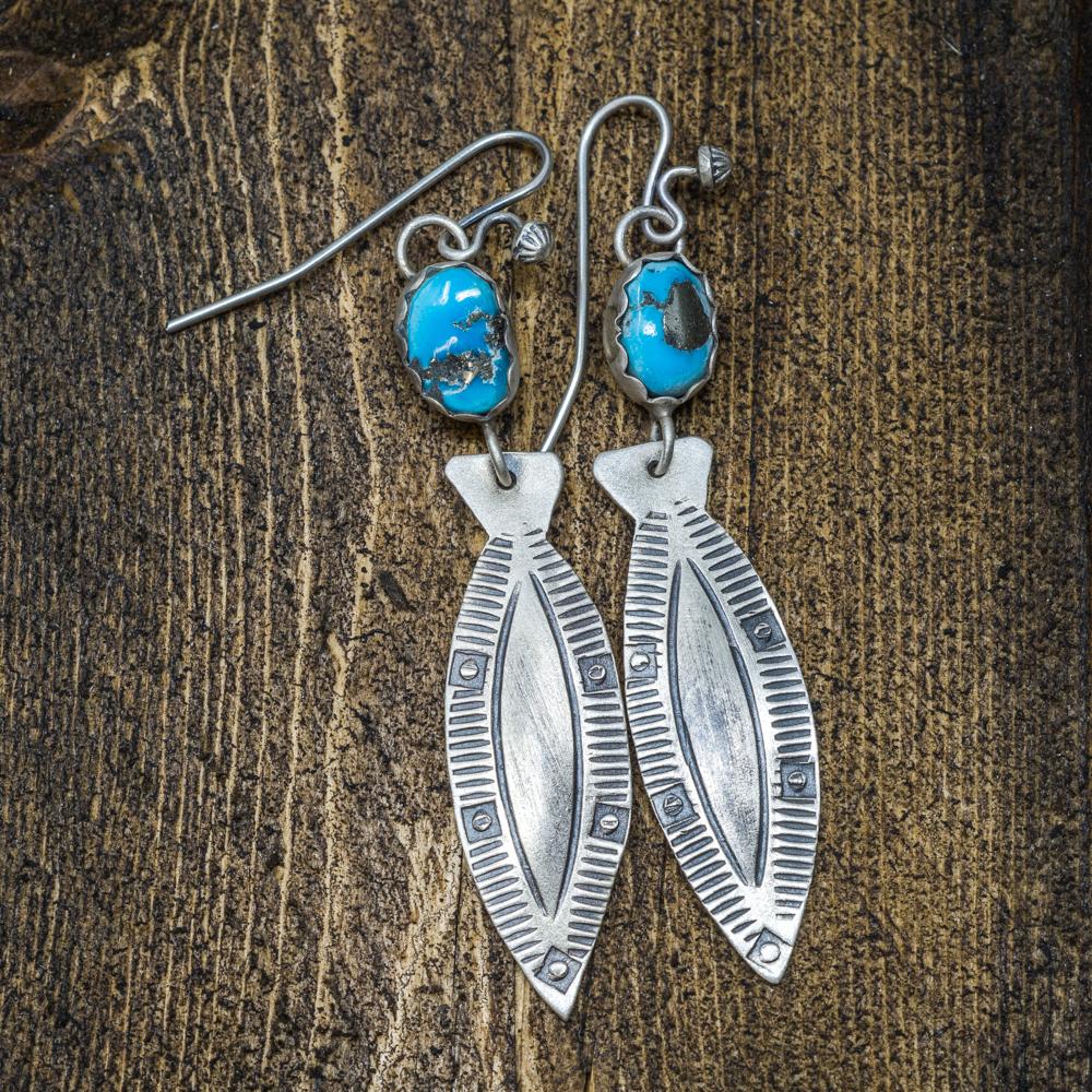 Andrew Ruiz Sleeping Beauty Turquoise Fisher Earrings SB200008