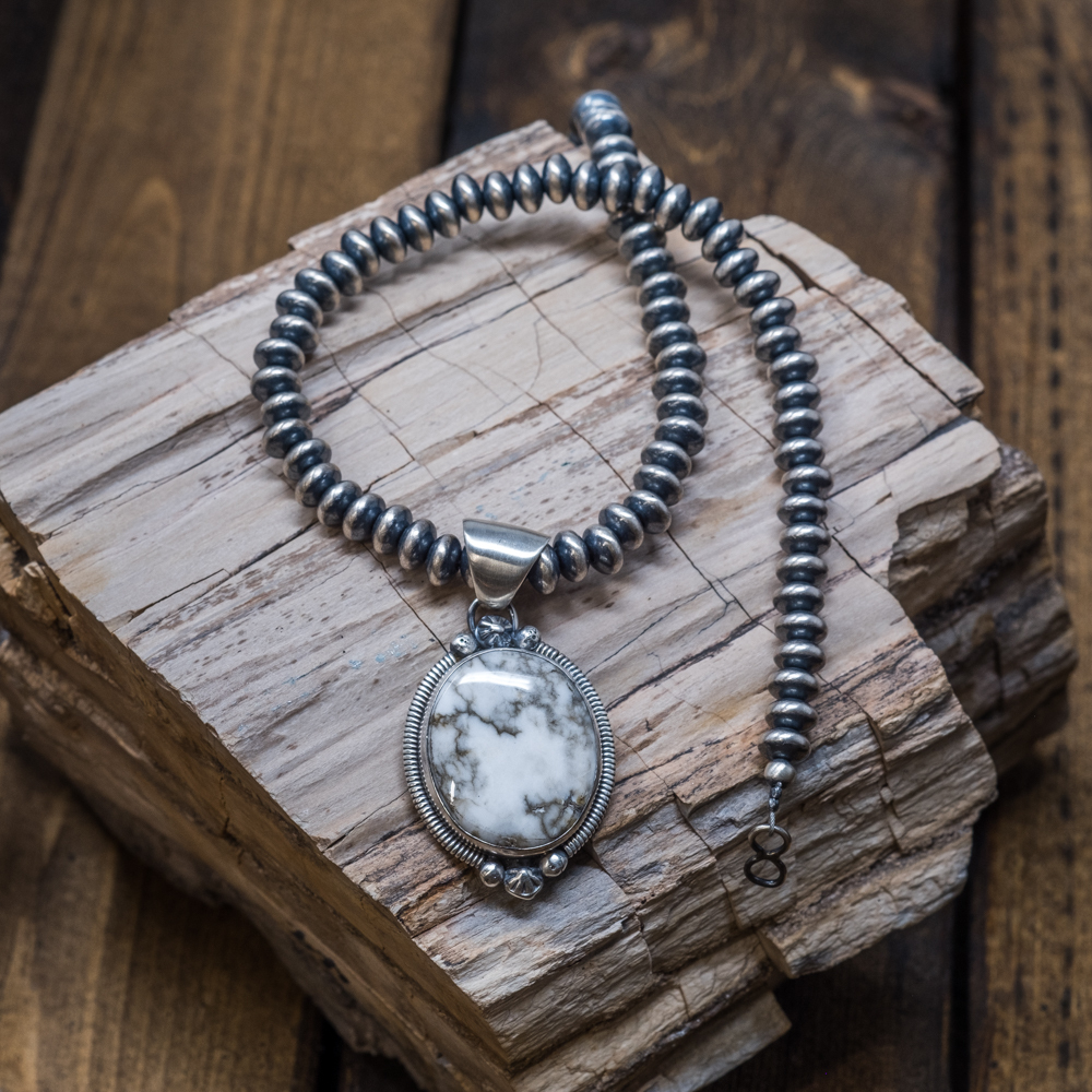 White Buffalo & Navajo Pearl Necklace by Wydell Billie