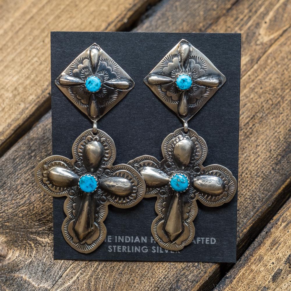 Sleeping Beauty Turquoise Stamped Cross Earrings SB200012