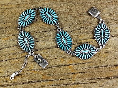 Sleeping Beauty Turquoise Needlepoint Bracelet SB160008