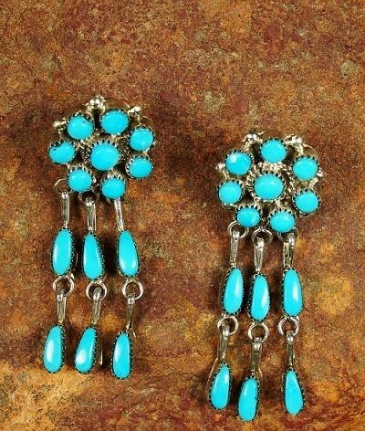 Sleeping Beauty Turquoise Dangling Earrings SB160010