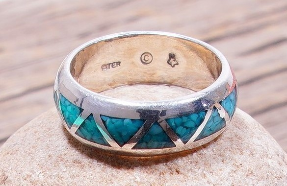 Sleeping Beauty Turquoise Chip Inlay Ring size 8 SB160059