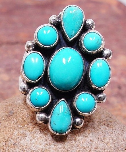 Sleeping Beauty Turquoise and Silver Split Shank Ring size 9 SB160050