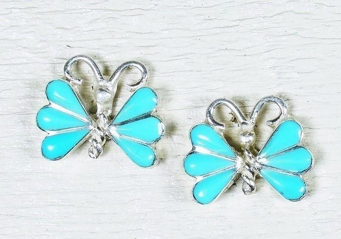 Sleeping Beauty Turquoise Butterfly Earrings SB160009