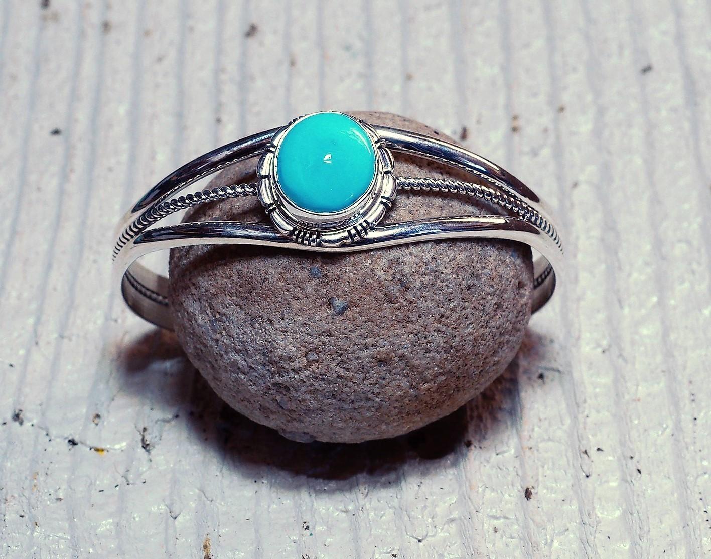 Robin Egg Sleeping Beauty Turquoise Cuff Bracelet - medium stone SB160068