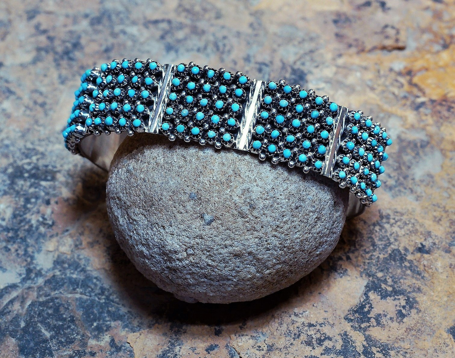 ​Sleeping Beauty Turquoise Block Petit Point Cuff Bracelet SB160081