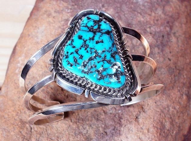 Sleeping Beauty Turquoise Baroque Cabochon Cuff SB160096