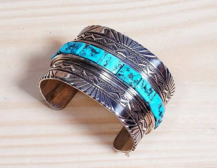 Vintage Stamped Sleeping Beauty Turquoise Cobblestone Cuff Bracelet SB160104