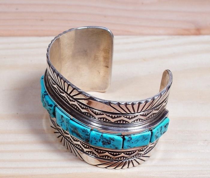 Vintage Stamped Sleeping Beauty Turquoise Cobblestone Cuff Bracelet