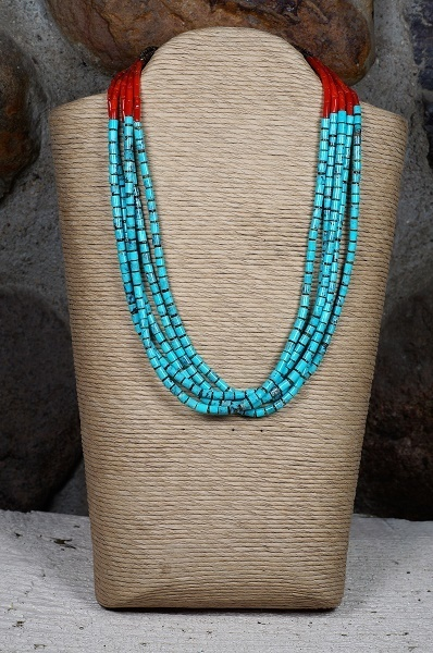 Sleeping Beauty Turquoise and Coral Heishi Necklace SB160107