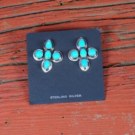 Sleeping Beauty Turquoise Cross Earrings SB160135