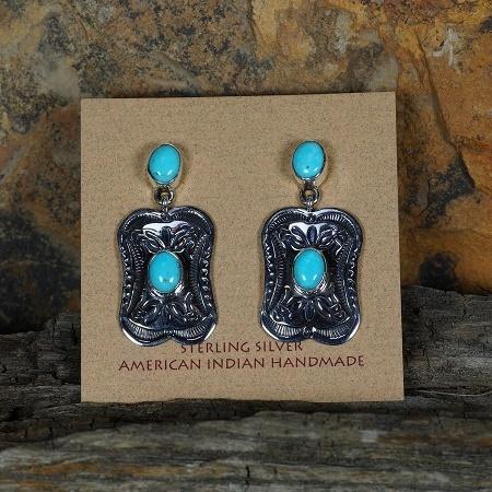 Sleeping Beauty Turquoise Stamped Earrings SB160159