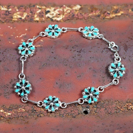 Petit Point Link Bracelet with Sleeping Beauty Turquoise SB160166