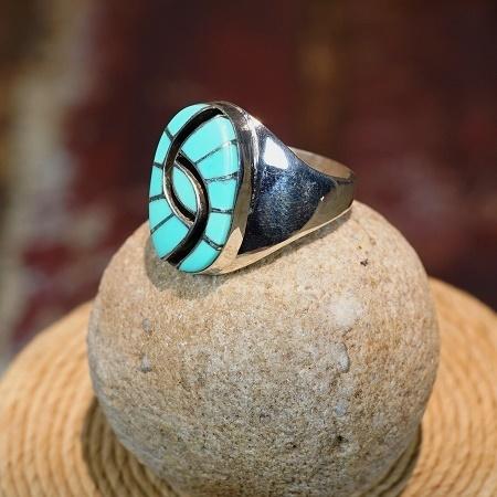 Hummingbird Eye Channel Inlay Ring with Sleeping Beauty Turquoise size 10 SB160186