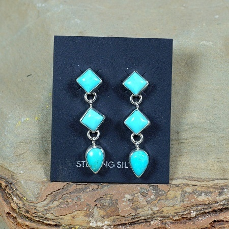 Triple Drop Earrings with Sleeping Beauty Turquoise SB160204