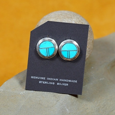 Contemporary Hopi Sunface Earrings with Sleeping Beauty Turquoise SB160261