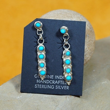 Bollywood Inspired Zuni Petit Point Earrings with Sleeping Beauty Turquoise SB160264