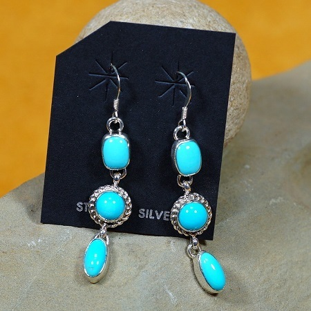 Three Drop Dangle Earrings with Sleeping Beauty Turquoise SB160265