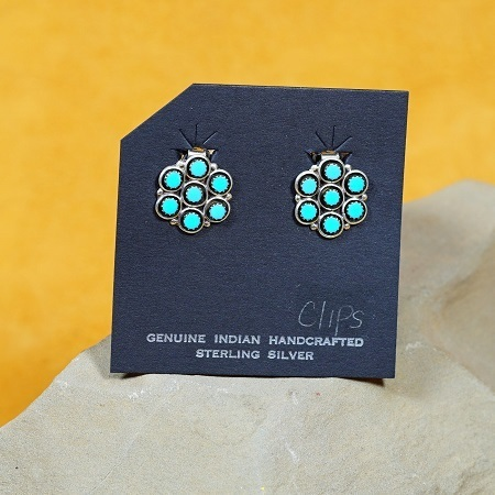 Seven Drop Petit Point Earrings with Sleeping Beauty Turquoise SB160282